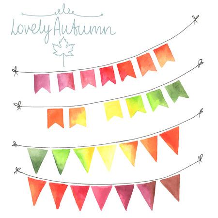 水彩フラグ花輪セット。秋の装飾です。秋の色で作られた花輪。緑、黄色、オレンジ、赤。すべてのオブジェクトをベクトルで行われました。一人