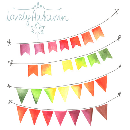 Watercolor flags garlands set. Autumn decor. Garlands made in autumn colors. Green, yellow, orange, red. All object made in vector. Each one is separately. Illustration