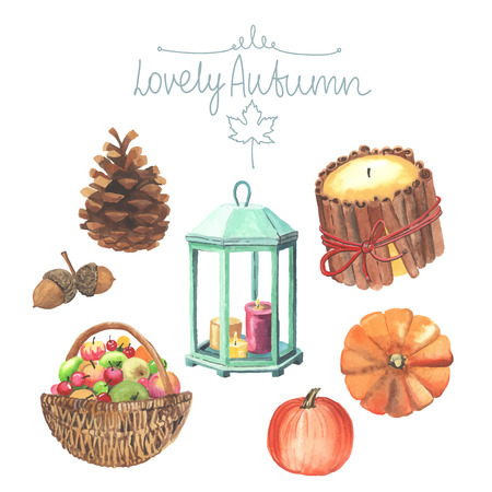 Set of watercolor cute autumn elements. Candles, pumpkins, basket of apples, pinecones, acorns. All object made in vector. Each one is separately. Illustration