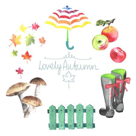 rubberboots: Set Aquarell Herbst Elemente. Pilze, Bl�tter, �pfel, Lattenzaun, Gummistiefel. Alle Objekt im Vektor. Jeder wird separat. Illustration