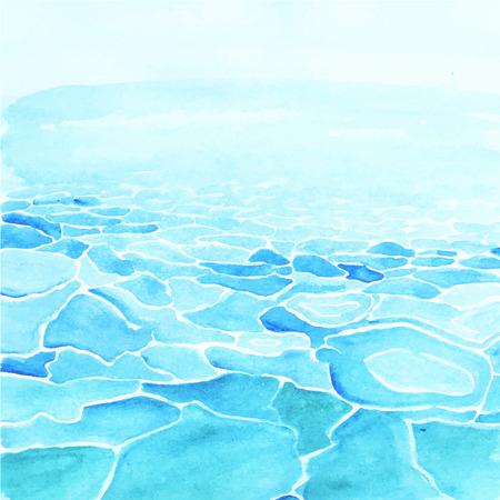 손으로 그린 수채화 바다 배경 벡터로했다.