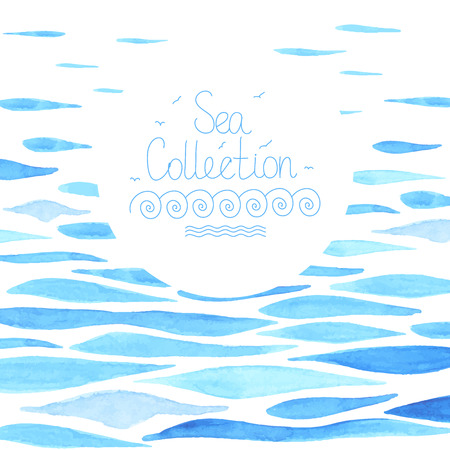 Caribbean sea: Watercolor sea background made in vector. Sea frame. Template for card.