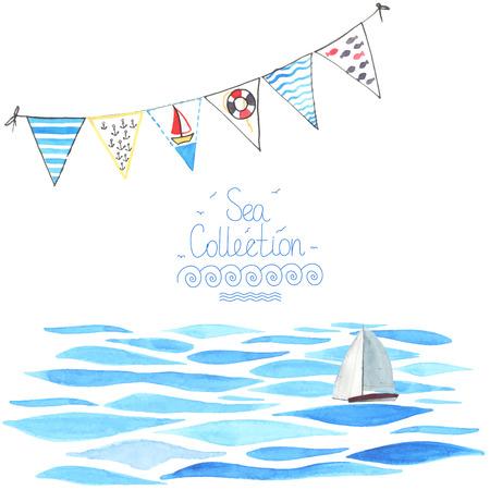 barche: Acquerello sfondo di mare con barca a vela e ghirlanda. Tutti oggetto fatto in vettoriale. Ognuno è parte.