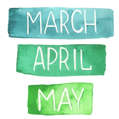 months: Hand painted watercolor tablets with spring months. March, April, May. Made in vector.