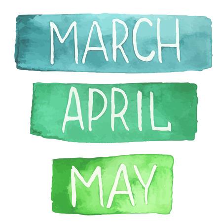 Handgeschilderde aquarel tablets met lentemaanden. Maart april mei. Made in vector.