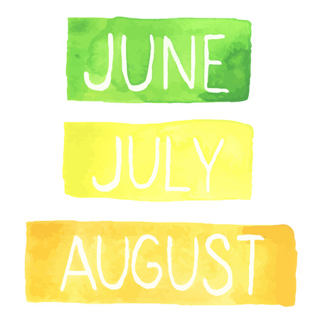 Hand painted watercolor tablets with summer months. June, July, August. Made in vector.