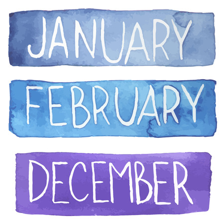 Hand painted watercolor tablets with winter months. December, January, February. Made in vector. Illustration