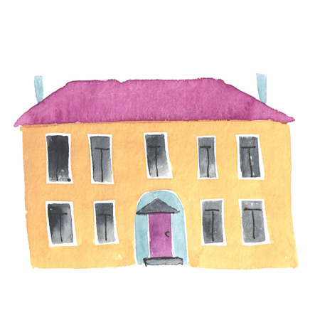 small town life: Watercolor illustration of the old house or hool building.