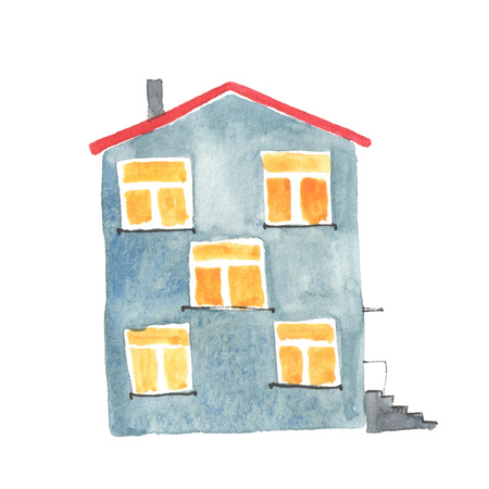 grey house: Watercolor illustration of the old grey house.