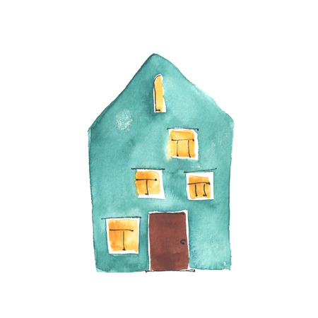 HOUSES: Watercolor illustration of the old turquoise house. Stock Photo