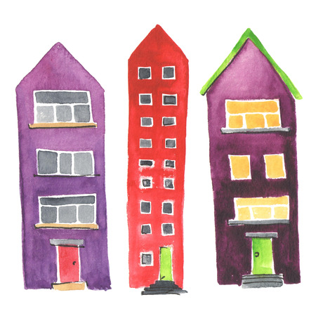 apartment building: Illustration of the different houses on a white background. Watercolor.