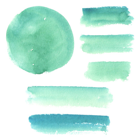 smears: Turquoise watercolor elements, spots and smears paint.