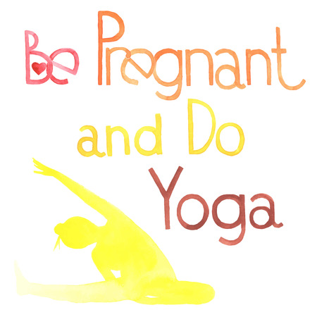 zwangerschapsyoga: Be pregnant and do yoga. Watercolor. All object made in vector. Each one is separately. Stock Illustratie