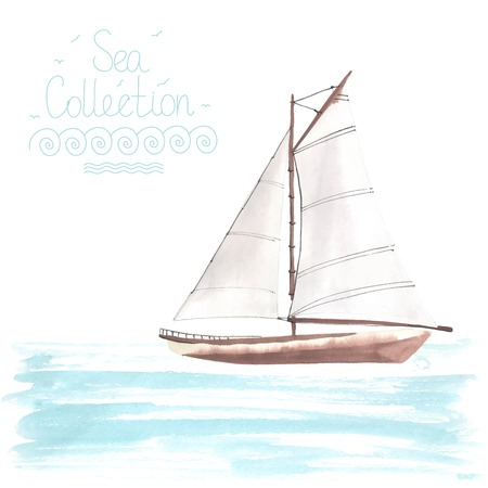 Watercolor boat with sails made in the vector. Sport yacht, sailboat. Çizim