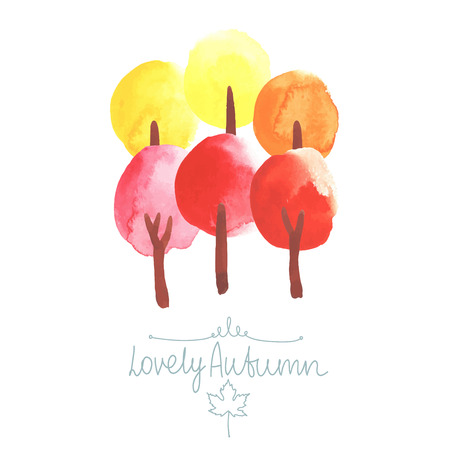 lush foliage: Watercolor trees in colors of autumn. Yellow, orange, red. All object made in vector. Each one is separately.