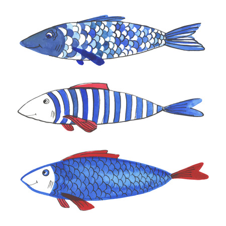 Watercolor funny fishes. All object made in vector. Each one is separately. 向量圖像