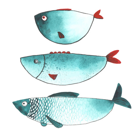 illustration and painting: Watercolor funny fishes. All object made in vector. Each one is separately. Illustration