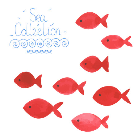 Watercolor simple red fishes. All object made in vector. Each one is separately. Çizim