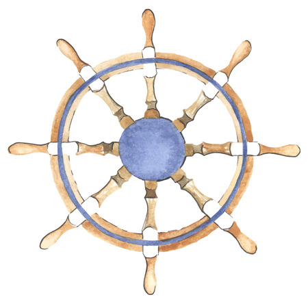 Watercolor ship steering wheel made in vector. Helm. Illustration