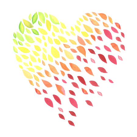 heart design: Watercolor background with autumn leaves. All object made in vector. Each one is separately.