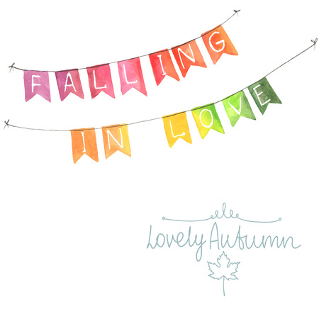 outdoor wedding: Watercolor flags garland. Autumn decor. Garlands made in autumn colors. Green yellow orange red. All object made in vector. Each one is separately.