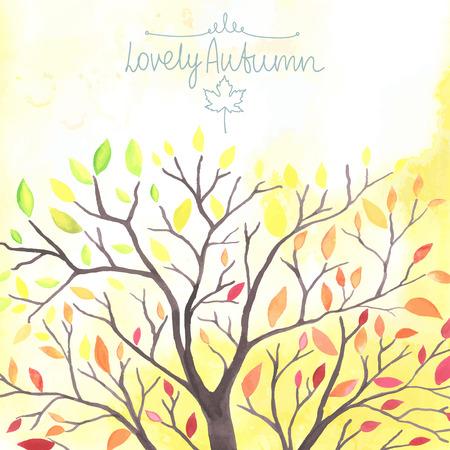feuille arbre: Aquarelle Arbre d'automne avec les feuilles tomber. Tout objet a fait dans le vecteur. Chaque feuille est séparément.