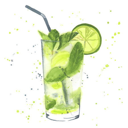 cocktail: Hand drawn illustration. Mojito cocktail. Watercolor made in vector.