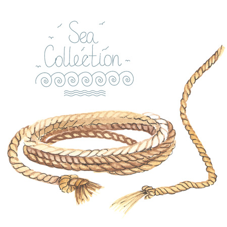 twine: Watercolor nautical rope isolated on white background. Made in vector.