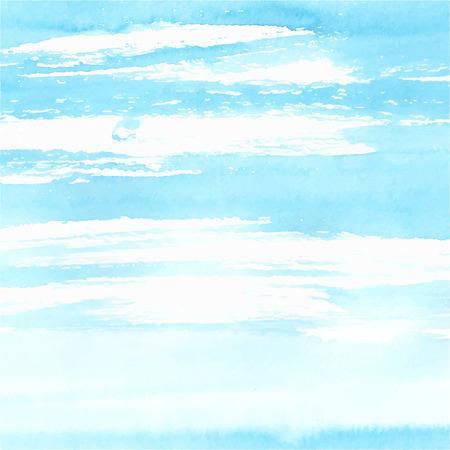 oceano: Mar de la acuarela o el fondo del cielo hicieron en el vector. Vectores