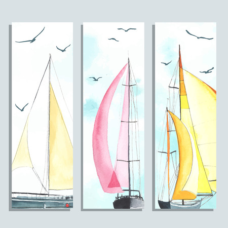 sailing boats: Flyers with watercolor sailboats made in the vector. Creative cards. Flyers and Banner Designs. Illustration