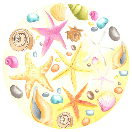 separately: Watercolor shells and starfishes on sand background.  All object made in vector. Each one is separately. Illustration