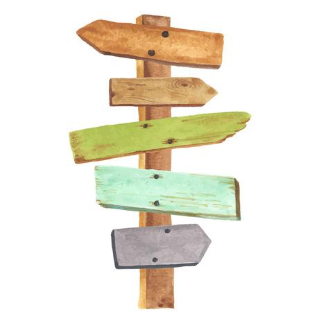 Akwarela drewniany drogowskaz. Wskazówki do różnych miejsc. Ilustracje wektorowe
