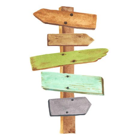 pointers: Watercolor wooden signpost. Directions to different places.