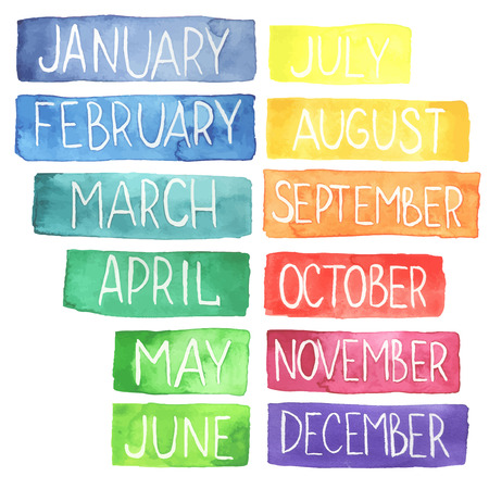 months of the year: Hand painted atercolor  rainbow calendar made in vector.Ttablets with months