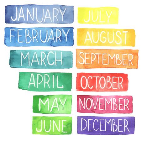 meses del año: Pintado a mano atercolor calendario arco iris hecho en vector.Ttablets con meses