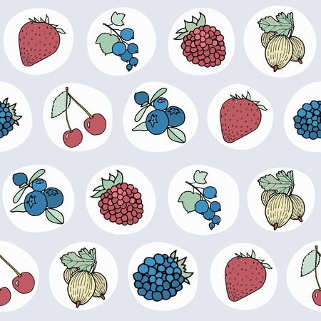 frutos rojos: Pattern with different berries on grey background. Vectores