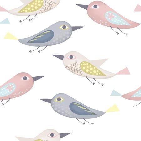 colores pastel: Patrón de las aves fantástico hecho en colores pastel