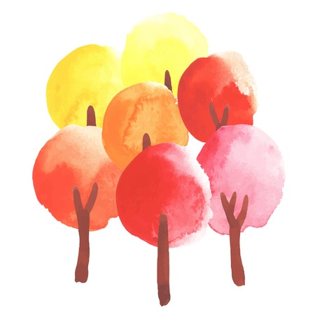 orange trees: Watercolor trees in colors of autumn. Yellow, orange, red. All object made in vector. Each one is separately.