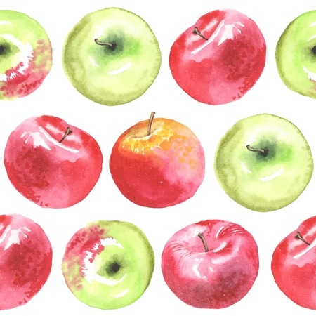 green and red: Watercolor apples pattern.  All object made in vector. Each one is separately.