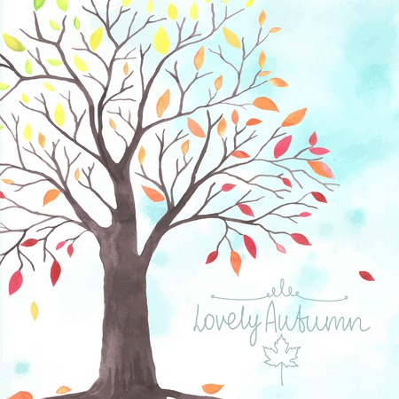 tree leaves: Watercolor Autumn tree with falling down leaves. All object made in vector. Each leaf is separately.