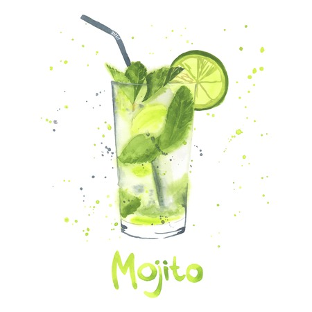 Hand drawn illustration of Mojito. Watercolor made in vector.
