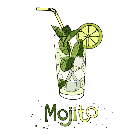 Hand drawn vector illustration of cocktail mojito
