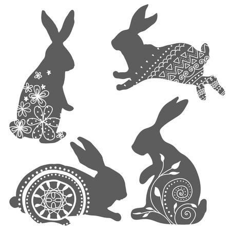 lapin silhouette: Jeu de silhouettes de lapins avec ornement