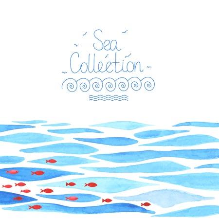 oceano: Acuarela fondo del mar con peces rojos. Todo objeto hizo en el vector. Cada uno es separado.