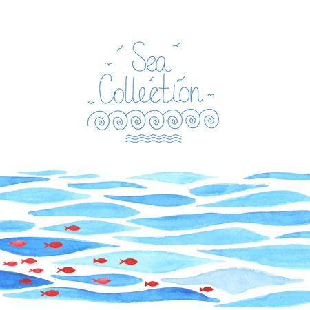 ocean view: Watercolor sea background with red fish. All object made in vector. Each one is separately. Illustration