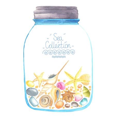 Erinnerungen in einem Glas. Aquarell Seesterne, Muscheln und Sand im Inneren. Alle Objekt im Vektor. Jeder wird separat. Standard-Bild - 43842572