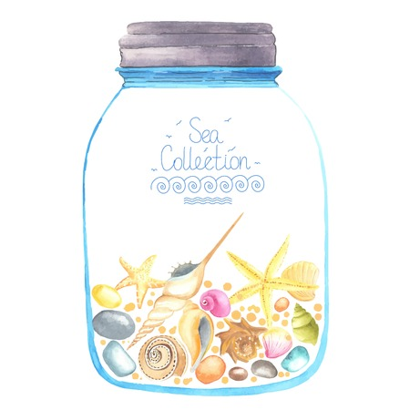 glass jar: Memories in a jar. Watercolor starfish, seashells and sand  inside.  All object made in vector. Each one is separately. Illustration