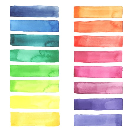 Hand painted Watercolor rainbow stripes made in vector. 일러스트