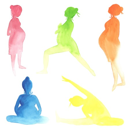 pregnancy exercise: Set of Watercolor pregnant women made in vector. Illustration
