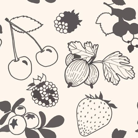 unpainted: Seamless pattern with cartoon unpainted berries. Vector illustration.